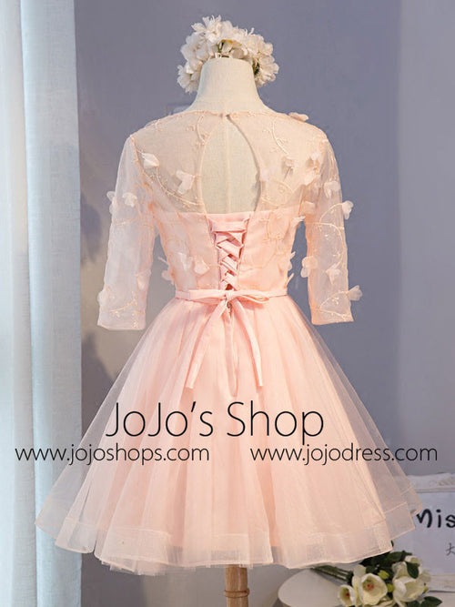 Blush Pink Short Lace Petal Sweet Sixteen Prom Formal Dress