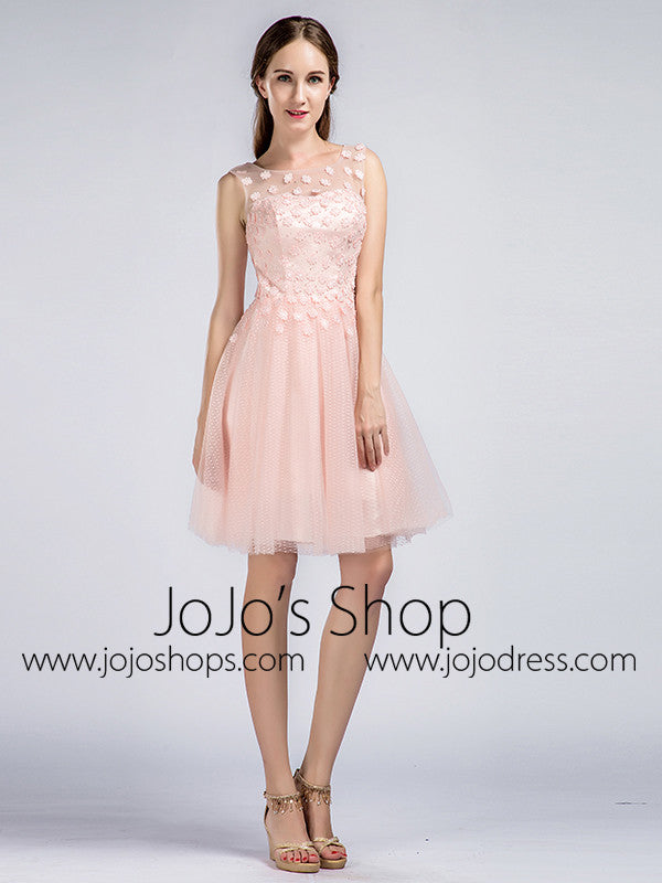 Short Blush Pink Tulle Lace Formal Cocktail Dress