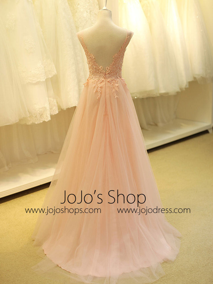 Blush Pink Lace Formal Prom Evening Dress with Open Back