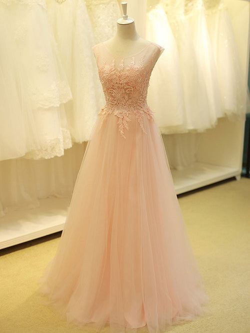 f4064929950c Blush Pink Lace Formal Prom Evening Dress with Open Back