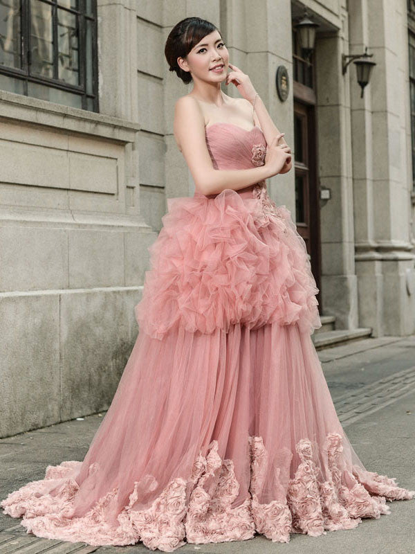 Dark Pink Strapless Tulle Ball Gown Pageant Evening Dress
