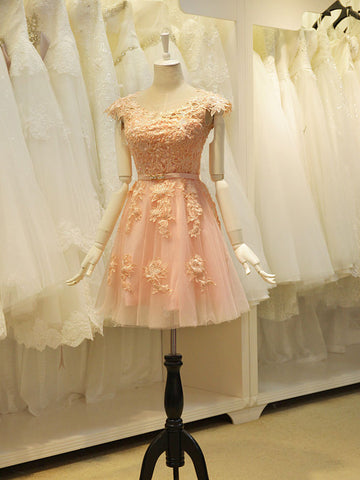 Blush Pink Lace Sweet Sixteen Semi Formal Prom Dress