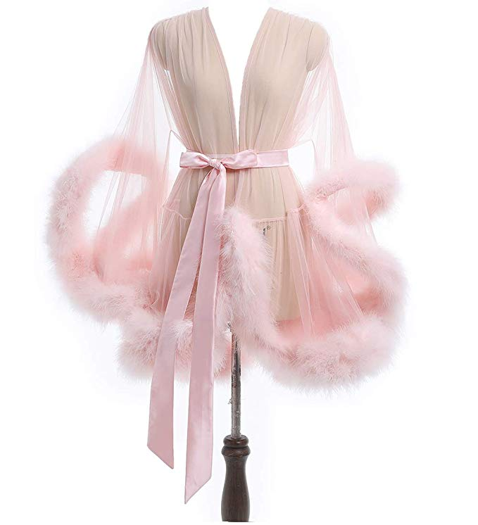 Short Pink Marabou Fur Edge Robe RB1332