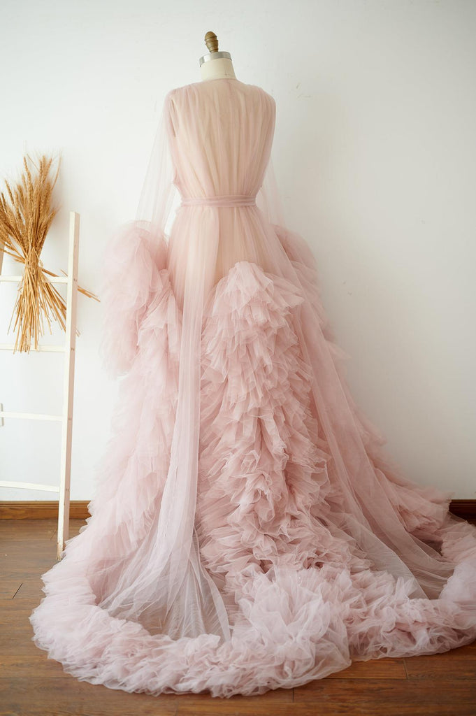Long Ruffled Tulle Robe for Wedding and Maternity Photo Shoots RB1333