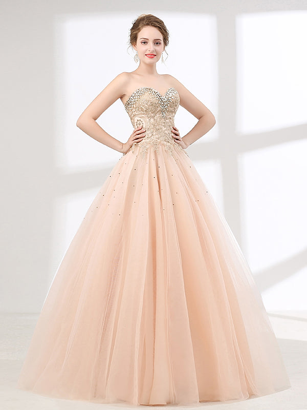 6d9d856fd91d Blush Peach Strapless Ball Gown Formal Prom Pagaent Evening Dress ...