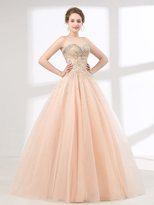 Blush Peach Strapless Ball Gown Formal Prom Pagaent Evening Dress