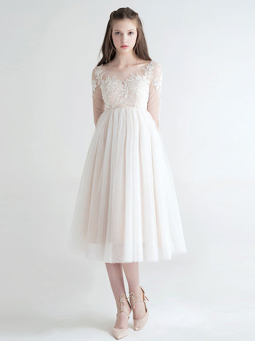 Blush Lace Tea Length Tulle Formal Dress