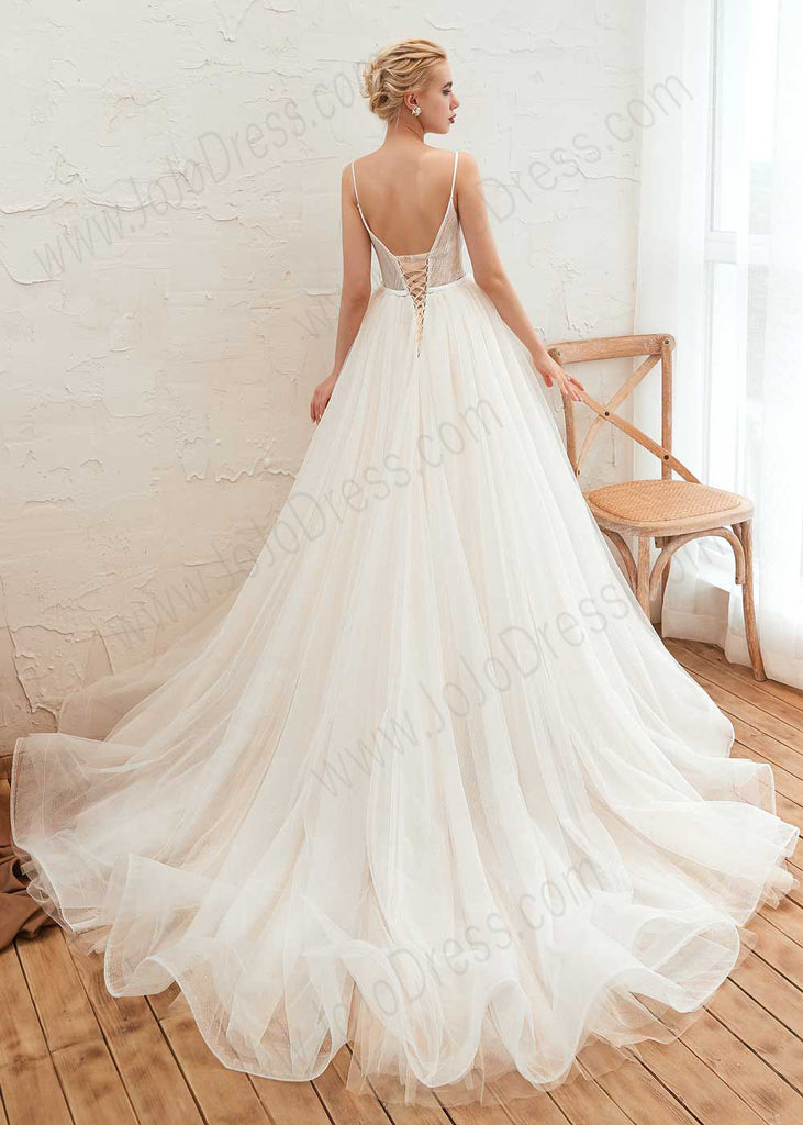 Copy of Bohemian A-line Tulle Lace Wedding Dress with Illusion Neckline