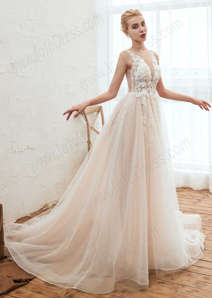 Bohemian A-line Tulle Lace Wedding Dress with Illusion Neckline