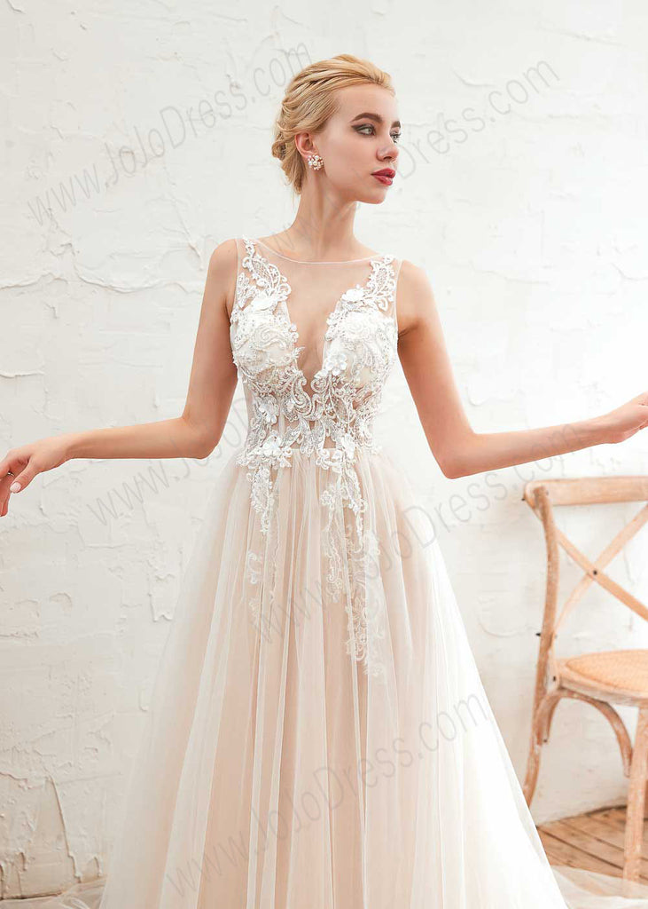 Bohemian A-line Tulle Lace Dress with Illusion Neckline
