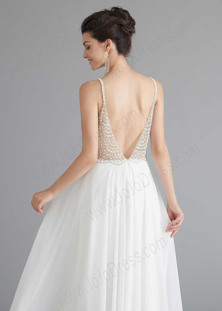Long Chiffon Wedding Dress with Pearl top