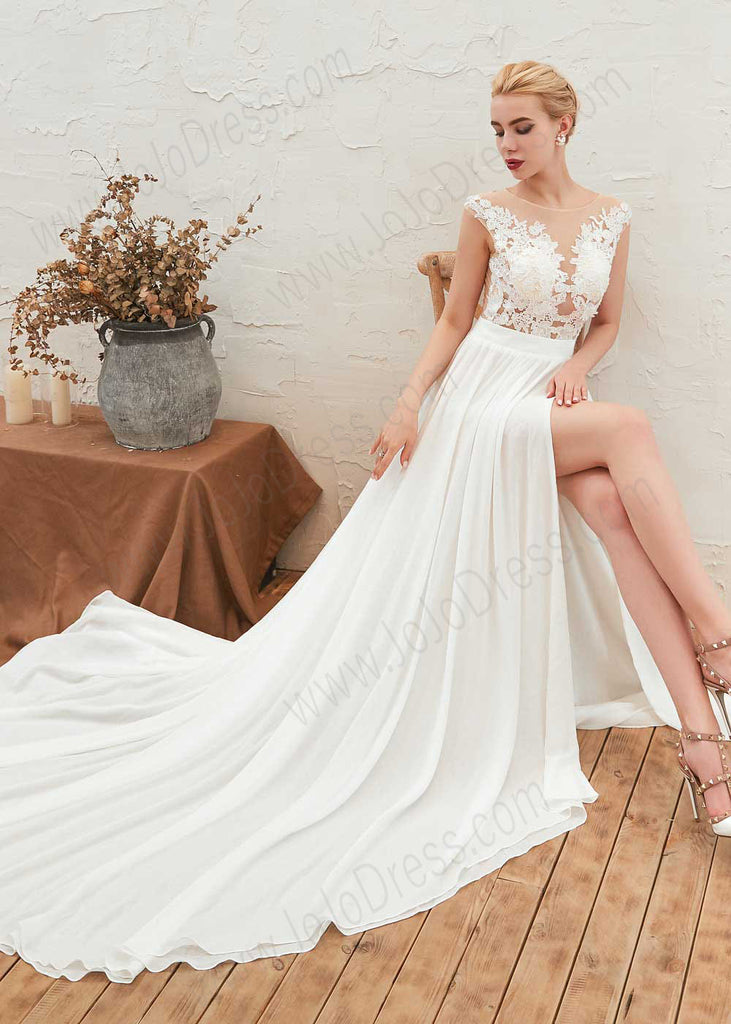 Boho Style Lace Chiffon Wedding Dress