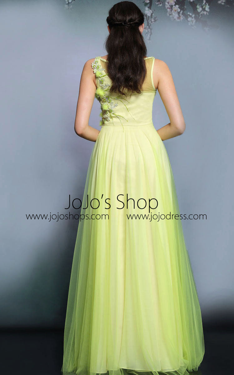 Yellow Whimsical Grecian Floral Long Formal Prom Evening Dress | DQ831271