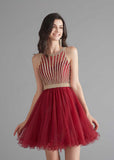 Chic Short Dark Red Tulle Evening Dress