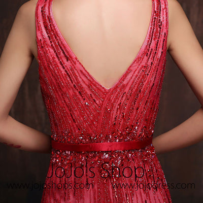 Burgundy Straps V-Neck Sheath Formal Evening Gown Prom Dress X012