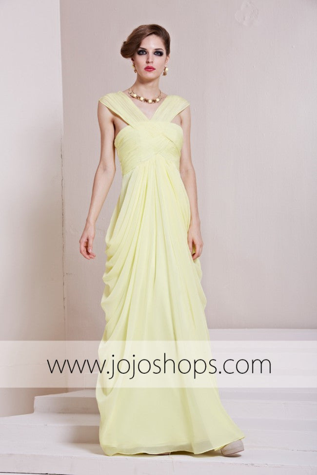 Yellow Grecian Formal Prom Evening Formal Dress RE88830