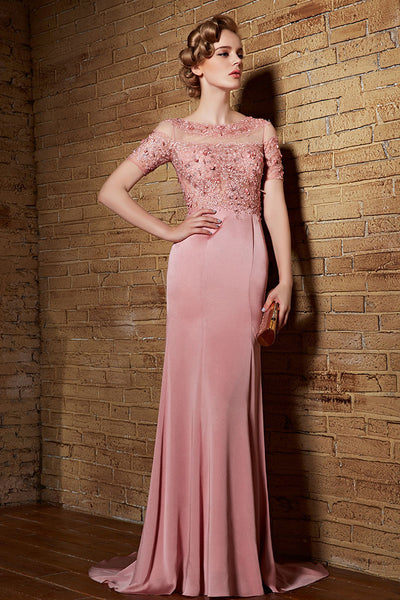 Pink Modest Lace Formal Evening Prom Dress with Sleeves | CX882123