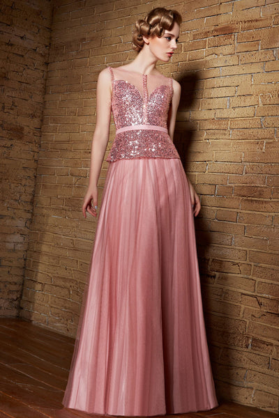 Shimmery Pink Sleeveless Formal Prom Beauty Pageant Evening Dress | CX830861