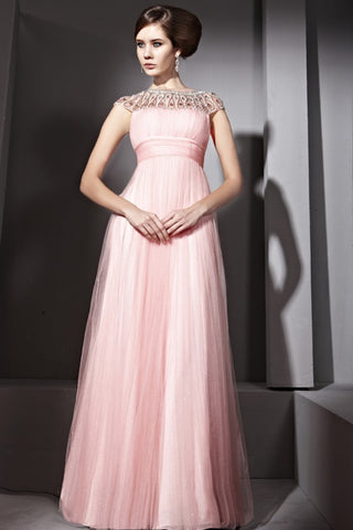 Grecian Sparkly Pink Long Formal Prom Pageant Graduation Evening Dress | CX881055