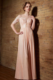Peach Lace Chiffon Elegant Long Formal Prom Evening Dress | CX30839