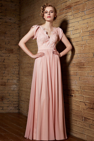 Grecian Pink Long Chiffon Lace Military Ball Gown Evening Dress with Cap Sleeves | CX830866