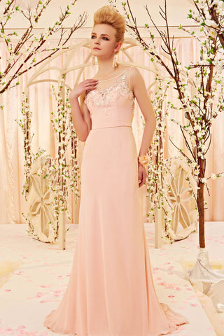 Peach Elegant Long Formal Prom Evening Dress | CX830281
