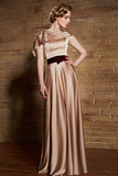 Grecian Gold Satin Long Military Ball Gown Evening Dress | CX830880