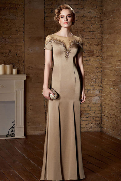 Mocha Modest Short Sleeves Long Formal Prom Evening Dress | CX882165