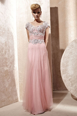 Pink Short Sleeves Lace Applique Evening Gown CX880965