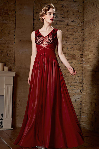 Grecian Burgundy Red V Neck Long Formal Prom Evening Dress | CX830900