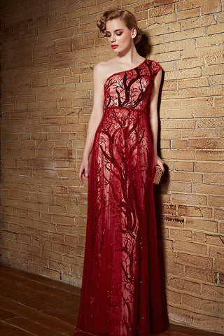 Dark Red Grecian One Shoulder Long Formal Military Ball Gown Evening Dress | CX882150