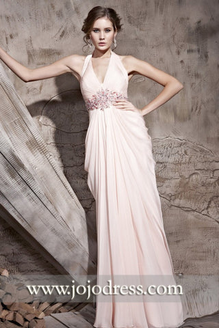 Grecian Pink Halter V Neck Goddess Long Formal Prom Pageant Evening Dress | CX881092