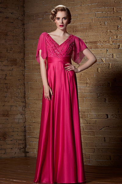 Fuchsia Pink Grecian Chiffon Long Formal Prom Evening Dress with Sleeves | CX882136