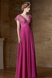 Grecian Pink V Neck Lace Long Prom Formal Evening Dress | CX830895