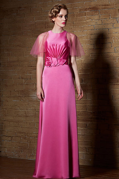 Pink Modest Long Satin Formal Prom Graduation Evening Gown | CX830906