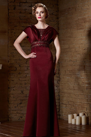 Burgundy Red Modest Formal Military Ball Gown Evening Dress | CX830868