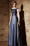 Metalic Blue Boat Neck Formal Prom Pageant Evening Dress | CX82192