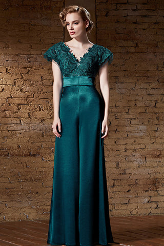 Dark Green V Neck Lace Formal Military Ball Gown Evening Dress | CX830885