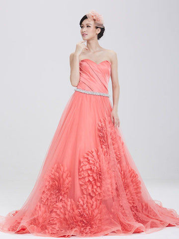Carol Red Strapless Ball Gown Evening Dress with Crystal Belt