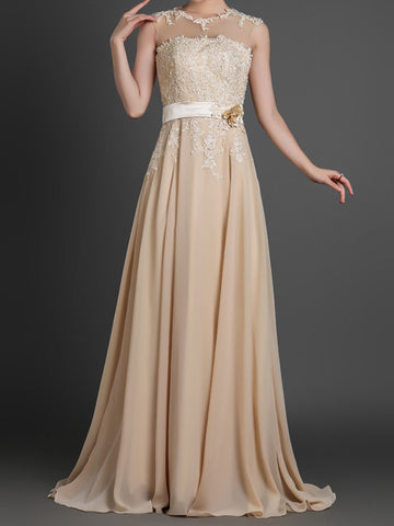 Grecian Champagne Full Length Evening Dress with Illusion Neckline