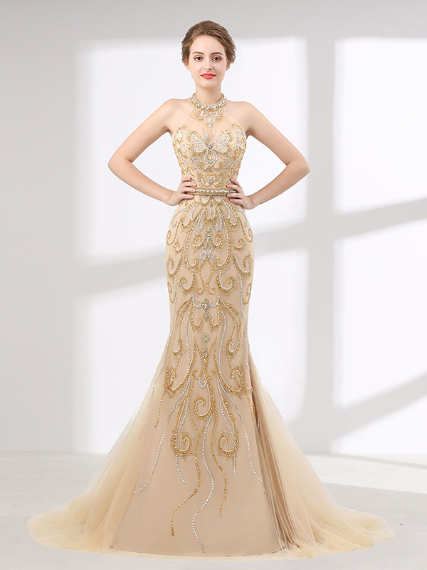 Halter Style Light Gold Formal Evening Gown For Beauty Pageant