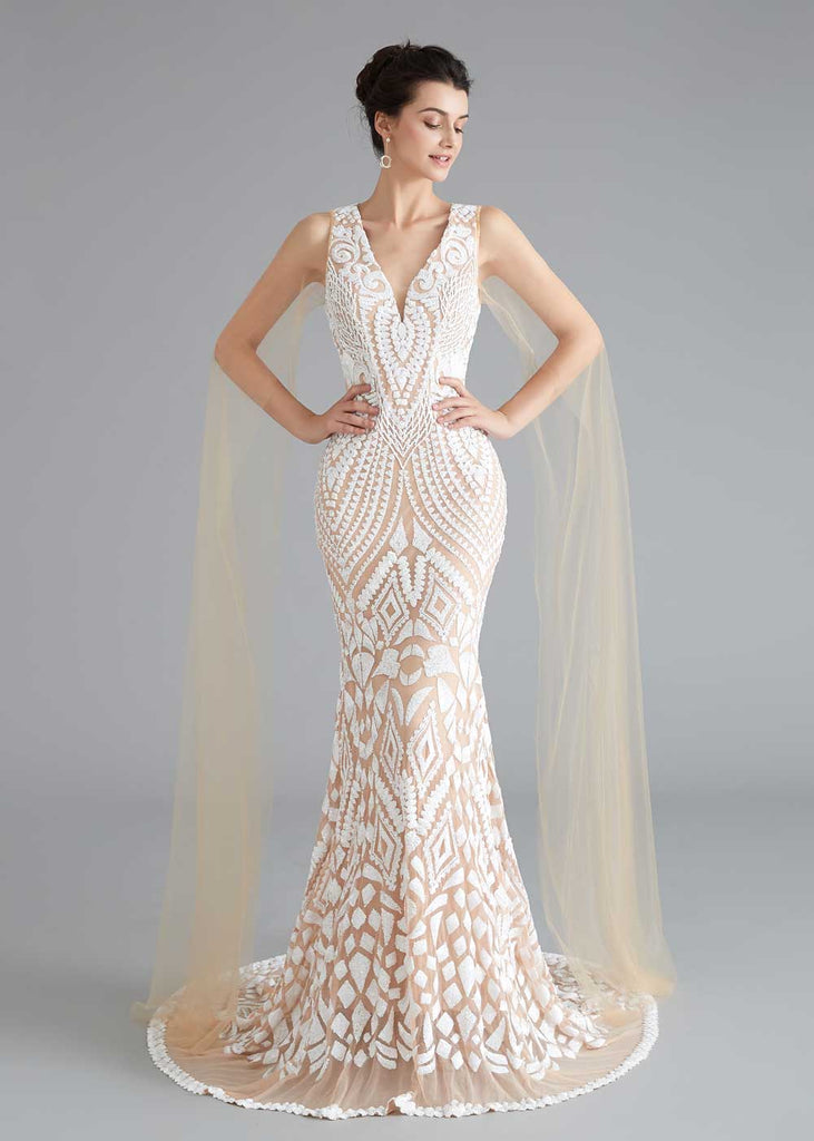 Champagne Lace Mermaid Wedding Dress