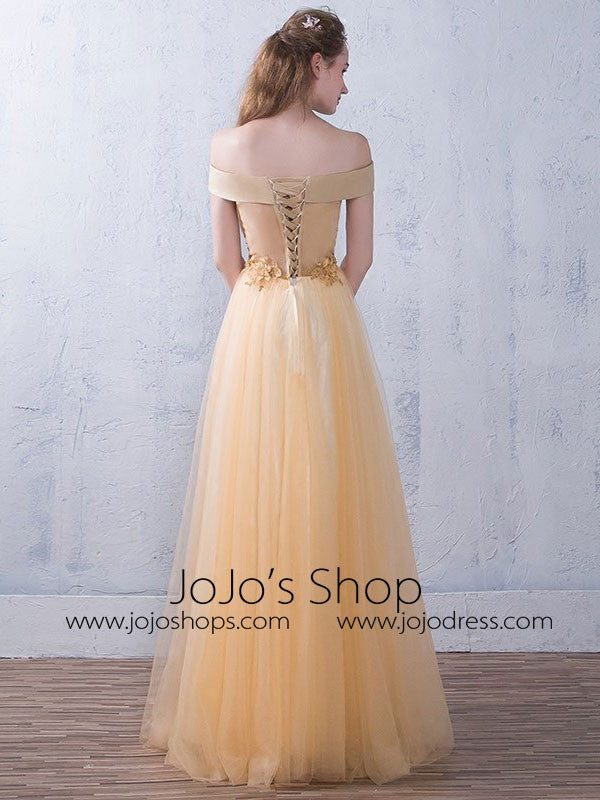 Champagne Off Shoulder Long Evening Dress