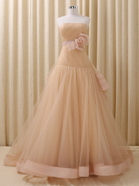 Strapless Champagne Formal Pageant Dress