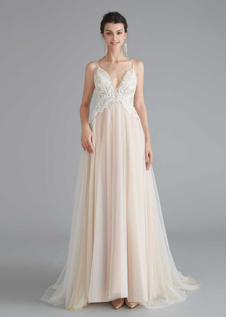 Boho Style Champagne A-line Wedding Dress with Lace Top