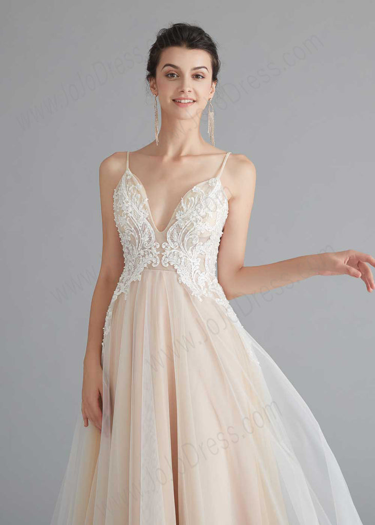 Boho Style Champagne A-line Dress with Lace Top
