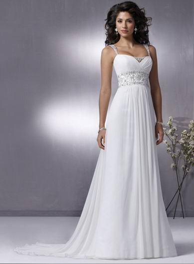 SALE Silk Chiffon Grecian Chiffon Empire Wedding Dress