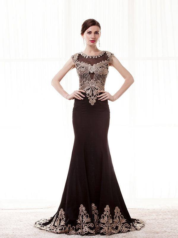 Elegant Dark Chocolate Mother of the Bride Dress