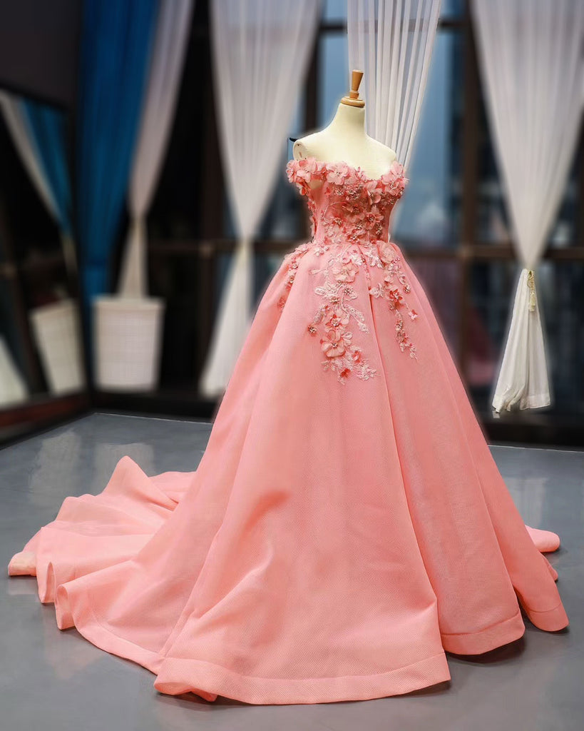 Coral Pink Ball Gown with 3D Flowers RS2017