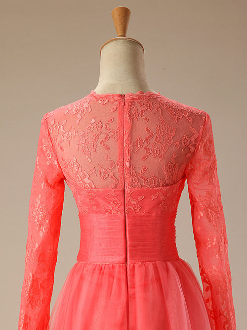 Coral Red Long Sleeves Lace Formal Prom Evening Dress
